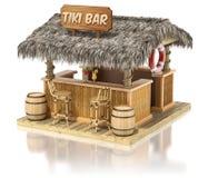 Tiki bar. On white reflective background - 3D illustration Royalty Free Stock Images
