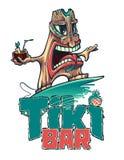 Tiki es persona que practica surf con un cóctel tropical Barra de Tiki ilustración del vector