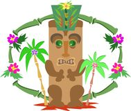 Tiki with Hat in Bamboo Frame Stock Photography