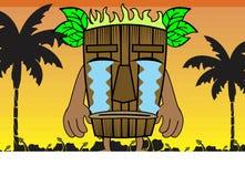 Tiki hawaiian mask cartoon background crying Royalty Free Stock Photos
