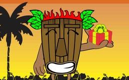 Tiki hawaiian mask cartoon background gift Stock Images