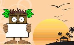 Tiki hawaiian mask cartoon background singboard Stock Image