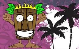 Tiki hawaiian mask cartoon background Royalty Free Stock Photos