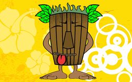 Tiki hawaiian mask cartoon background 7 Stock Photography