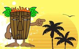 Tiki hawaiian mask cartoon background 8 Stock Photo
