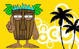 Tiki hawaiian mask cartoon card Royalty Free Stock Images
