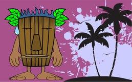 Tiki hawaiian mask cartoon postal Stock Image