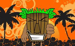 Tiki hawaiian mask cartoon summer background Royalty Free Stock Image