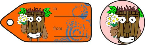 Tiki hawaiian mask flowers cartoon giftcard Royalty Free Stock Images