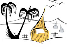 Tiki hut. Illustration of a tiki hut with palm trees and mountains with 2 birds royalty free illustration