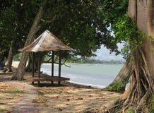 Tiki hut, Johor, Malaysia. Tiki hut on deserted beach in Johor, Malaysia on sunny day stock photography