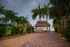 Tiki Hut with Lights Stock Photography
