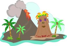 Tiki Island with Lava Flow Stock Photography
