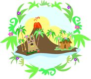 Tiki Island in Plant Frame Stock Photo