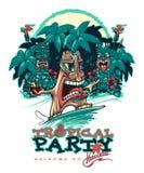 Tiki la persona que practica surf Bandera para el partido de Tiki Un partido tropical stock de ilustración