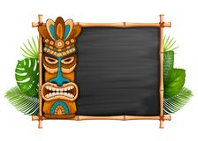 Tiki Mask And Bamboo Frame. Tiki tribal wooden mask, tropical exotic plants and bamboo frame with space for your text. Hawaiian traditional elements, totem royalty free illustration