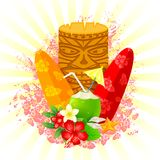Tiki Mask. Easy to edit  illustration of tiki mask with surfboard Stock Photography