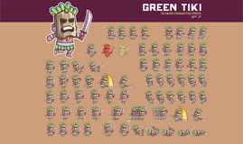 Tiki Mask Game Character Animation Sprite. Vector Illustration of Fun and Cute Tiki Mask Game Character Animation Sprite Frames Royalty Free Stock Photography
