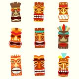 Tiki mask icon set. Vector illustration on white background stock illustration