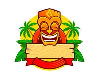 Tiki Mask Logo Template. Funny Vector Illustration. Smiling tribal Tiki mask. Hawaiian tropical style logo Stock Photo