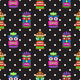 Tiki mask seamless polka dot dark pattern vector. Royalty Free Stock Photography