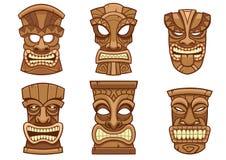 Tiki mask set. Vector of tiki mask set royalty free illustration