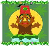 Tiki met een Hoed van Fez vector illustratie