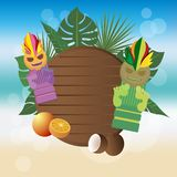 Tiki mug, exotic coctails illustration stock illustration