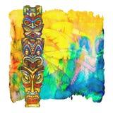 Tiki se pinta en acuarela en un fondo de la acuarela stock de ilustración