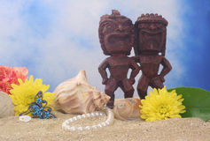 Tiki Statue on Beach Royalty Free Stock Photos