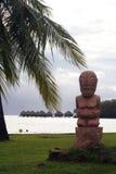 Tiki statue on the beach. Ressort, Tahiti stock image