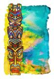 Tiki statues painted in watercolor on watercolor background in the form of tropical vegetation. Tiki statues are painted in watercolor on a bright watercolor royalty free illustration