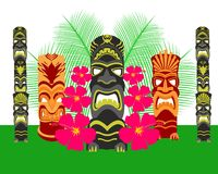 Tiki Statues Vector Illustration Set Royaltyfri Foto