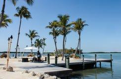 Tiki-Strand errichtet auf einem Dock umgeben mit tiki tourches mit einem Reggaemusiker, der unter den Palmen spielt lizenzfreies stockbild