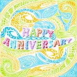 Tiki style Happy Anniversary typography Stock Photo