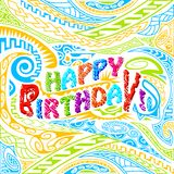 Tiki style Happy Birthday typography Royalty Free Stock Photo