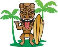 Tiki Surfer. Illustration of a Tiki  surfer making the shaka sign Stock Photo