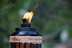 A Tiki Torch with Flame royalty free stock photos