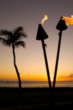 Tiki Torch and Palm in Sunset Stock Images