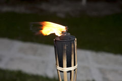 Tiki torches burning Stock Photography