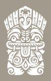 Tiki totem mask. Hawaiian tiki god statue. Polynesian tiki print. Vector illustration Stock Images