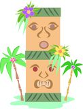 Tiki Totem and Palm Trees Stock Photography