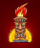 Tiki traditional hawaiian tribal mask with fire. Vector illustration. stock illustration