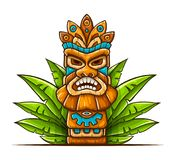 Tiki traditional hawaiian tribal mask. With human face in green leaves of tropical plants. Wooden totem symbol, god from ancient culture of Hawaii. Hand drawn royalty free illustration