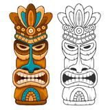 Wooden Tiki mask. Tiki tribal wooden mask. Hawaiian traditional elements. Colored and black and white silhouette. Isolated on white background. Vector Stock Image