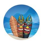 Tiki warrior mask design surfboard on ocean beach Royalty Free Stock Images