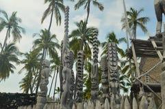 Tikis в родном гаваиском доме Стоковые Изображения