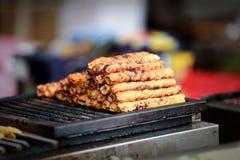 Tikka asiático indio del pollo, shish, kebabs del kofta adobados en especias en barbacoa del carbón de leña en el mercado del fes Fotos de archivo libres de regalías