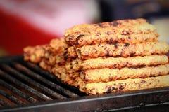 Tikka asiatico indiano del pollo, shish, kebab di kofta marinati in spezie sul barbecue del carbone al mercato di festival della  fotografia stock
