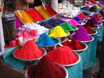 Tikka Colors. Market stall with tikka colors in Mysore, India Royalty Free Stock Image